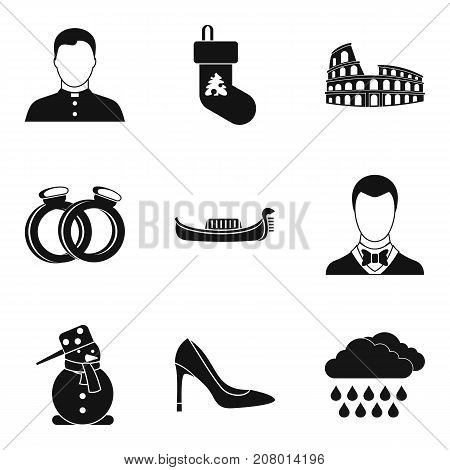 Rite icons set. Simple set of 9 rite vector icons for web isolated on white background