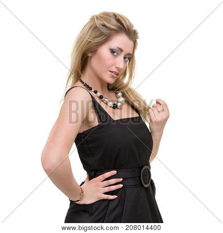 portarit of beautiful coquette young woman, isolated on white background