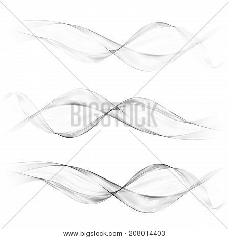 Set abstract gray smoke wave. Transparent wave. Abstract smooth wave vector. Smoke gray wave. Vector Abstract Lines
