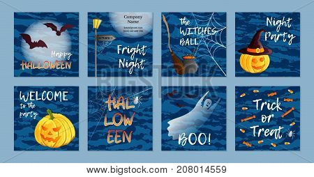 Vector set of eight square postcards, invitations or banners. Halloween theme. Traditional holiday symbols and inscriptions. Jack o lantern, ghost, witch hat, cauldron, broom, sweets, bat, spider, web. Abstract blots background