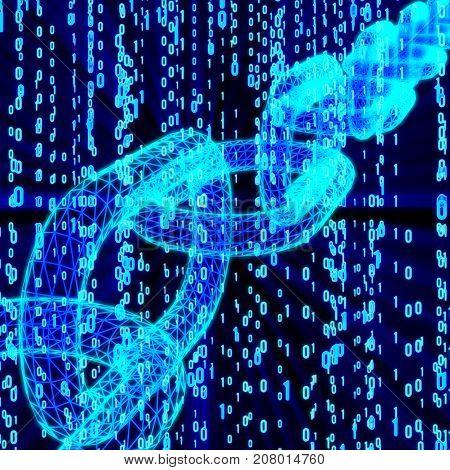 Blockchain. Cripto currency bitcoin. Global internet worldwide. Abstract Matrix Background. Binary Computer Code. 3d render illustration