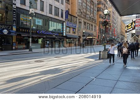 New York City, Usa, September 10, 2017 : In The Streets Of Manhattan. Manhattan Is The Most Densely