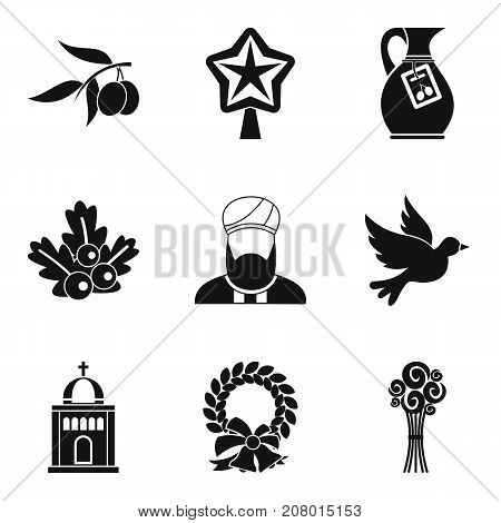 Ritual icons set. Simple set of 9 ritual vector icons for web isolated on white background