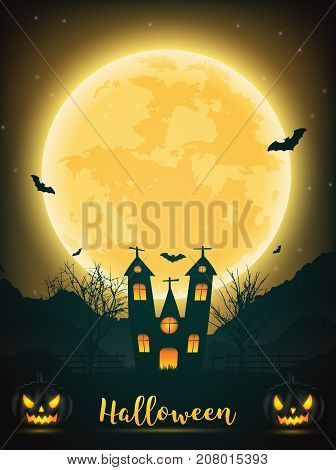 Halloween night background with pumpkin naked trees bat haunted house and full moon on dark background.Vector illustration.