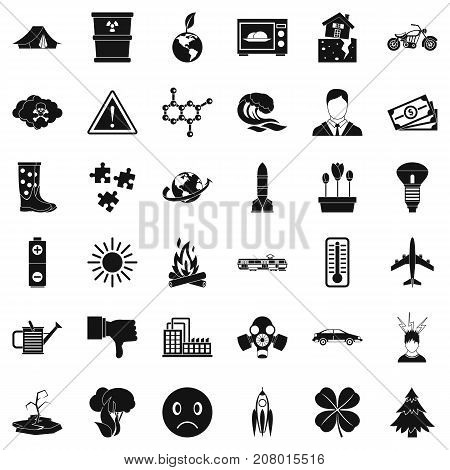 Radioactive icons set. Simple style of 36 radioactive vector icons for web isolated on white background