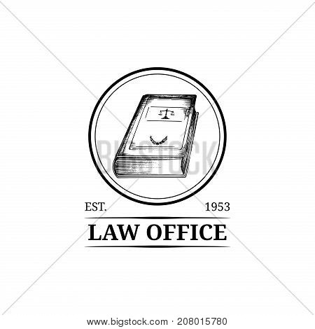 Law office symbol with code illustration. Vector vintage attorney advocate label juridical firm badge. Act principle legal icon design.