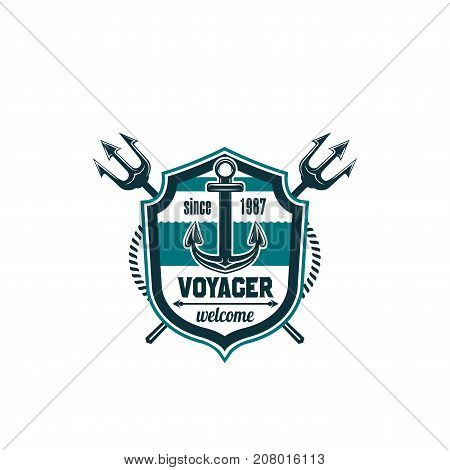 Voyager marine heraldic shield icon of ship anchor, navy trident or sailing chain rope of lifebuoy. Vector isolated symbol of seafarer sailing, captain or sailor voyage travel badge