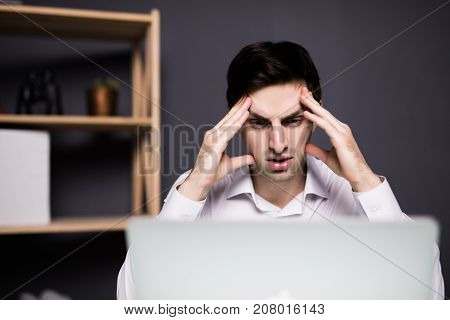 Business Man Working Problem Using Laptop Looking At Screen, Hold Head Hand Pain, Ache, Businessman
