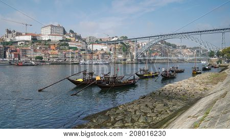 PORTO, PORTUGAL - AUGUST 28, 2017: View over the Douro river to the old quarter of Porto on August 28, 2017 in Portugal, Europe