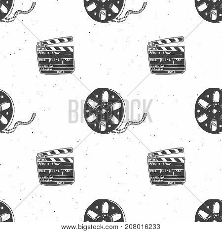 Cinema tape film reel and clapperboard vintage seamless pattern handdrawn sketch retro movie and film industry vector illustration