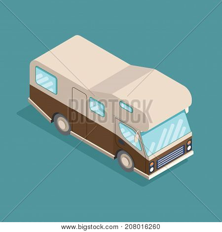 Isometric RV camper. Car for a family. Can be used for advertisement, infographics game or mobile apps icon.