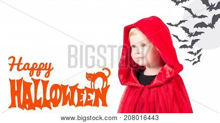 Little Red Riding Hood. Beautiful little girl in a red raincoat with a hood. Happy Halloween