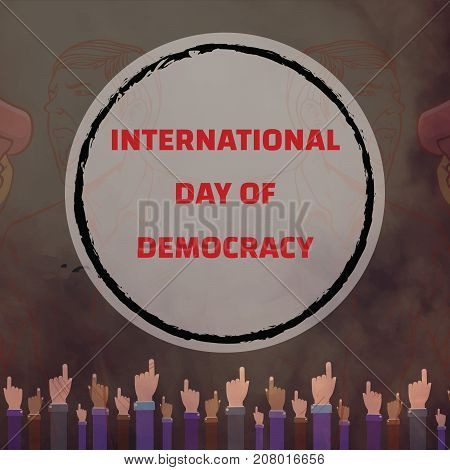 International Day of Democracy, 15 September. Speaker in crowd conceptual illustration vector.