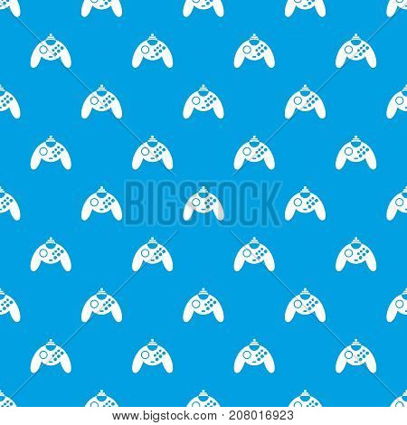 Gamepad pattern repeat seamless in blue color for any design. Vector geometric illustration