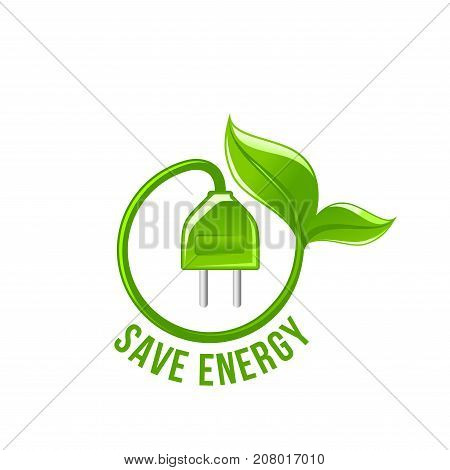 Save Energy symbol of electricity plug and green leaf for power technology eco concept. Vecor isolated icon for green energy or ecology environment protection and nature saving or planet conservation