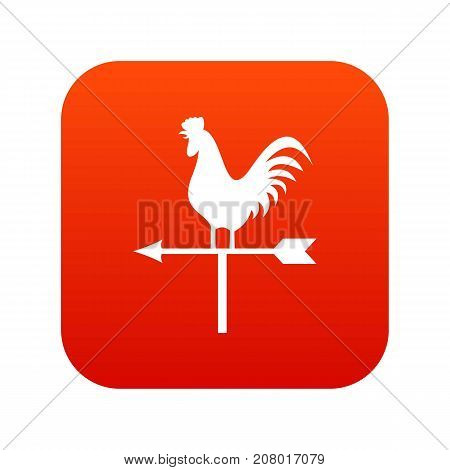Weather vane with cock icon digital red for any design isolated on white vector illustration