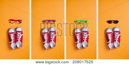 Group of images of red gumshoes and glasses on orange background