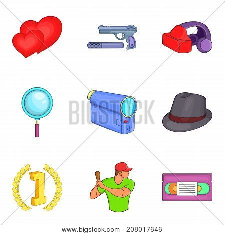 Home movie icons set. Cartoon set of 9 home movie vector icons for web isolated on white background