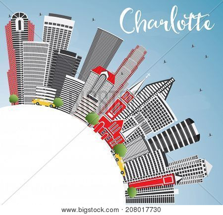 Charlotte Skyline with Gray Buildings, Blue Sky and Copy Space. Business Travel and Tourism Concept with Modern Architecture. Image for Presentation Banner Placard and Web Site.