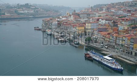 PORTO, PORTUGAL - AUGUST 29, 2017: Early morning over the Douro river on August 29, 2017 in Porto, Portugal, Europe