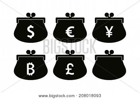 Electronic wallet with virtual money isolated on white background.