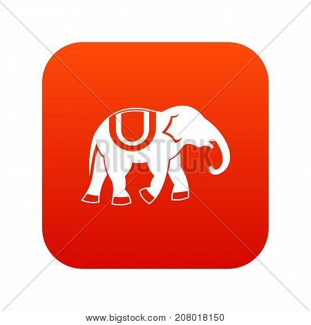 Elephant icon digital red for any design isolated on white vector illustration