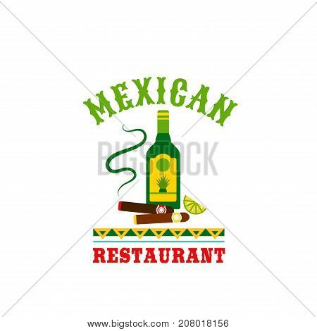 Mexican cuisine restaurant icon of tequila and cigar. Vector isolated Mexico agave cactus drink bottle and cigarette with traditional Mexican ornament for cafe menu template