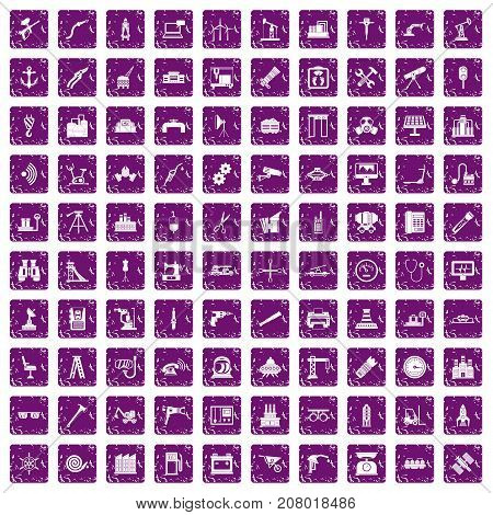 100 equipment icons set in grunge style purple color isolated on white background vector illustration