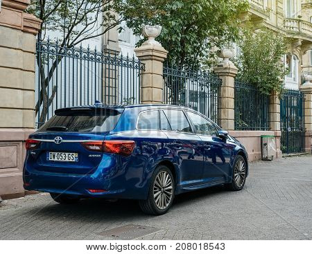 STRASBOURG FRANCE - OCT 1 2017: Latest model of luxury Toyota Avensis wagon car parked on the streets of Strasbourg
