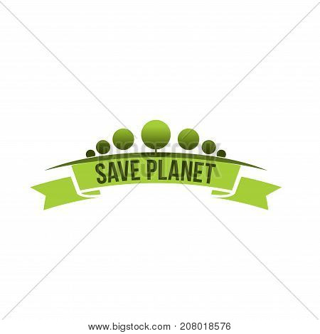 Save planet eco environment and green nature company icon template. Vector isolated symbol of ecology trees forest, gardens or parklands squares and eco woodlands for planting or urban horticulture