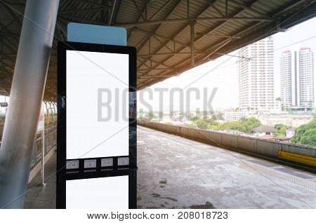 mock up blank advertising billboard with copy space for your text message or media and content at sky train station, commercial, marketing and advertising concept