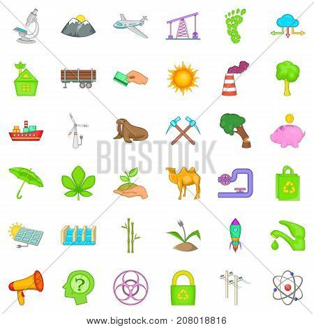 Global warming icons set. Cartoon style of 36 global warming vector icons for web isolated on white background