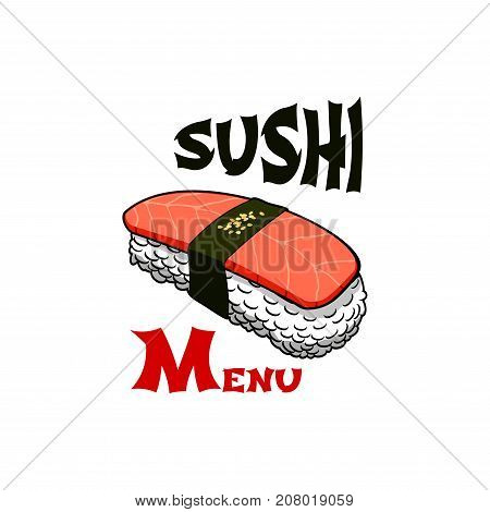 Sushi icon template for Japanese food restaurant or bar menu. Vector red Japan design of sushi rolls with salmon and eel, unagi maki and fish sashimi in nori seaweed and chopsticks in steamed rice