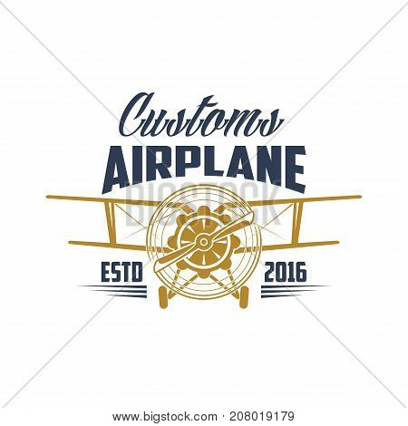 Aviation customs retro icon of aircraft propeller and wings for avia pilot legend team label. Vector isolated badge of vintage airscrew for wind chasers and airplane rider sport crew