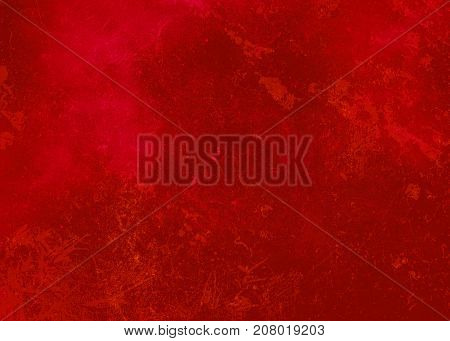 Red dark abstract textured background texture to the point with bright spots of paint. Blank background design banner.