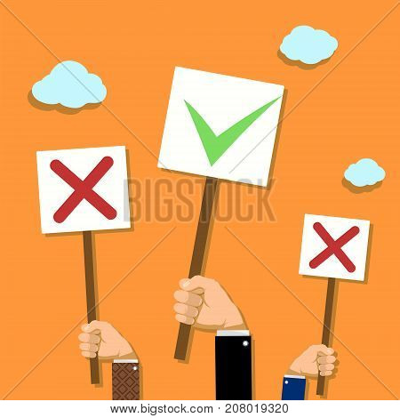 People hold banners in their hands. Voting and demonstrations. Stock vector illustration.