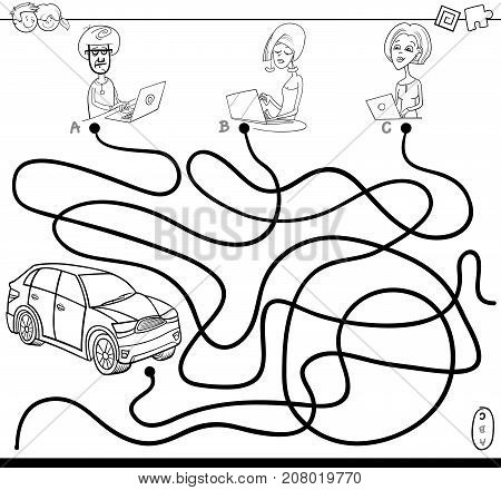 Paths Maze With People And Car Coloring Book