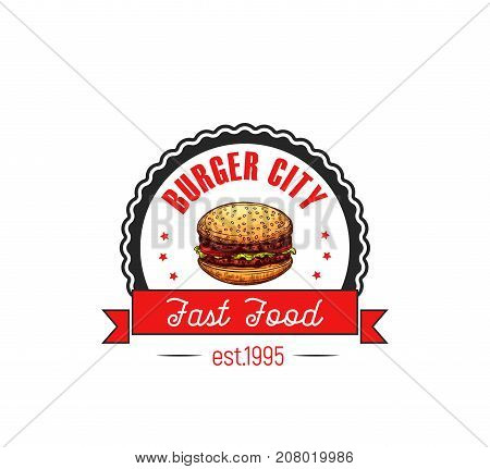 Burger City fast food cafe or restaurant icon template of cheeseburger or hamburger. Vector isolated symbol of burger in buns with stars and red ribbons for bistro sign or menu