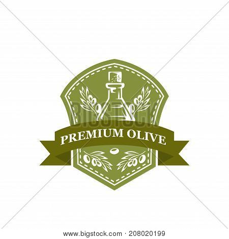Olive oil premium icon of green and black olives for extra virgin product bottle packing label design template. Vector best quality ribbon symbol for organic cooking oil drops on jar and olive leaf