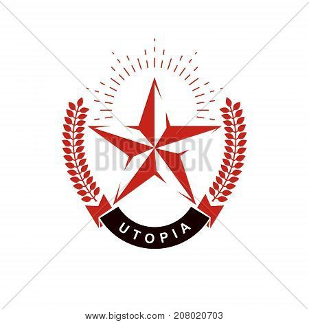 Vector star logo composed using laurel wreath. Totalitarianism as the evil power ideological propaganda.