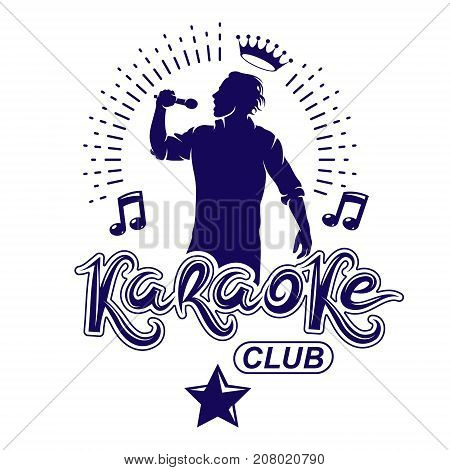 Karaoke club flyers vector cover design created using musical notes stars and soloist singing to microphone. Emcee show advertising poster