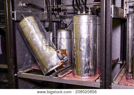 Industry Electrical Condensers. Broken Industry Electrical Condenser.