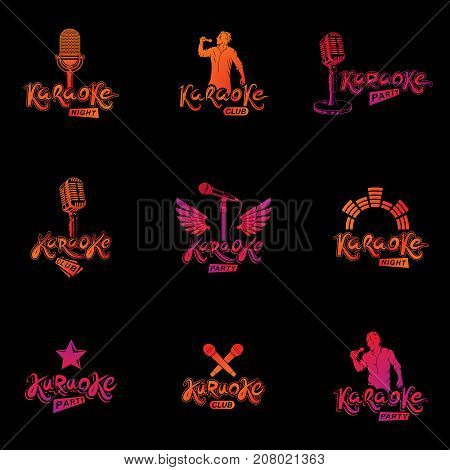 Set of social telecommunication theme logotypes emblems and posters. Earth globe microphones and megaphones devices vector illustrations created with news writing.