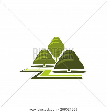 Trees park landscape gardening design and green ecology association or company icon template. Vector isolated parkland square, forest tree garden and woodland for eco environment and nature planting