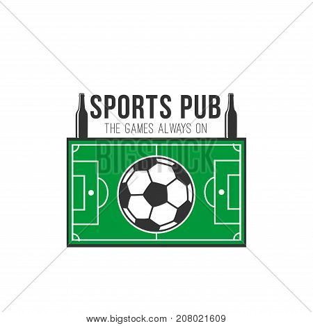 Sports pub icon of soccer ball and sport arena or football playing field in shape of referee clock with beer bottle buttons and goal gates. Vector symbol for soccer team fan bar sign design template