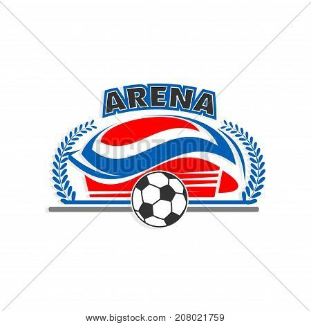 Soccer stadium or football sport arena icon. Vector isolated sign template of soccer ball flying, victory wreath laurel for sport fan club or football game championship star award