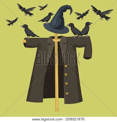 Garden ugly terrible fabric scarecrow fright bugaboo doll human silhouette on stiick character dress from farm rag-doll vector illustration.