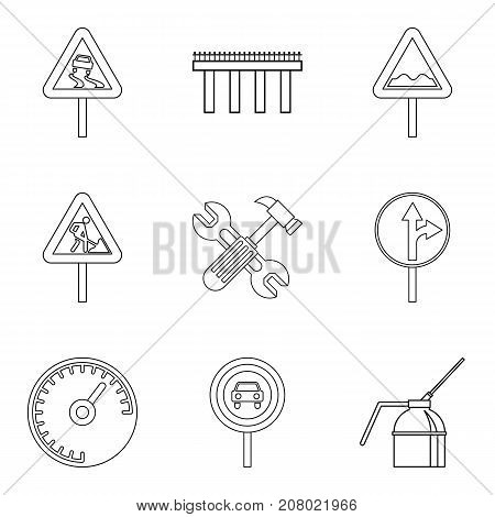Rugged terrain icons set. Outline set of 9 rugged terrain vector icons for web isolated on white background