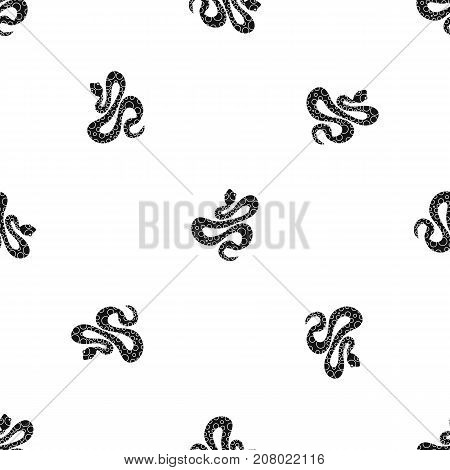 Black dotted snake pattern repeat seamless in black color for any design. Vector geometric illustration