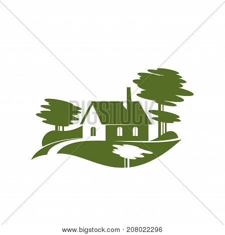 Green village or eco farm gardening or landscape design association icon template. Vector isolated symbol of green house in park, forest trees, woodlands and eco home in ecology garden